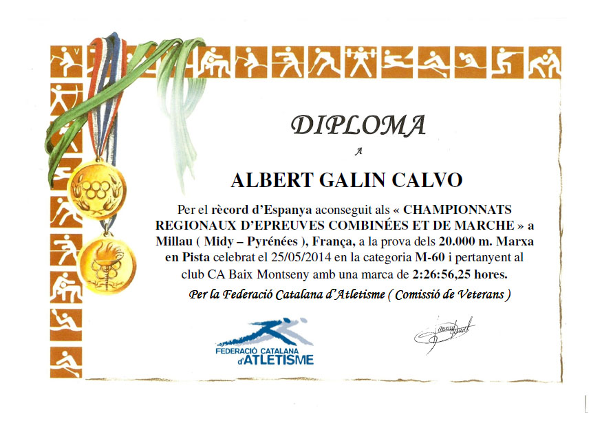 RÈCORD ESTATAL PER L'ATLETA DEL CLUB ALBERT GALIN